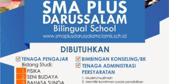 lowongan Tenaga Pengajar, Bimbingan Konseling (BK) dan Staff Administrasi SMA Plus Darussalam Ciamis