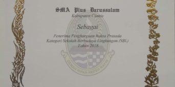 SMA Plus Darussalam Ciamis Meraih Penghargaan
